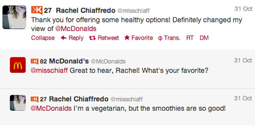 McDonald's responds to a compliment on Twitter
