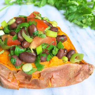 Black Bean Salsa Stuffed Sweet Potatoes.