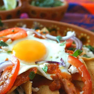 Chilaquiles with Eggs and Black Beans