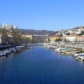 Rijeka, Croatia by Jasminka Lunjalo - Landscapes Travel ( blue, town rijeka, croatia, adriatic sea )