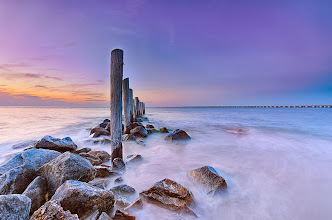 Photo: Overlooking the Chesapeake Bay  Spent the weekend in Virginia and was able to get a few sunrises and sunsets at the Chesapeake Bay (Chick's Beach) overlooking the Chesapeake Bay Bridge Tunnel. Finally was able to test out some long exposures with my new Nikon D800! Missing being able to use filters though- might need to invest in some new ones at some point eek!