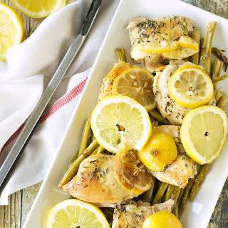 Crockpot Lemon Pepper Chicken with Asparagus.