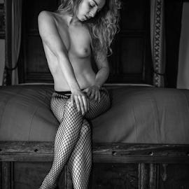 Fishnets by Paul Phull - Nudes & Boudoir Boudoir ( fishnets, body, sexy, black and white, boudoir, heels, bedroom )