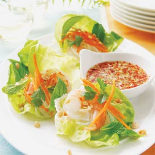 Vietnamese Shrimp Lettuce Wraps with Spicy Lime Dipping Sauce.