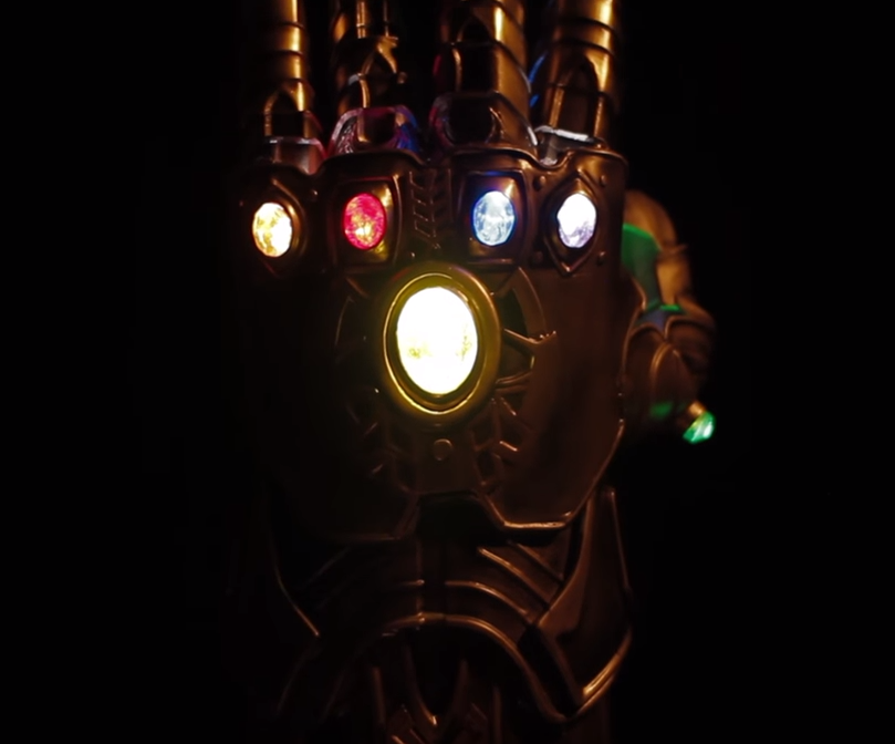 A full, Thanos-sized Infinity Gauntlet, designed and printed by Darrell.