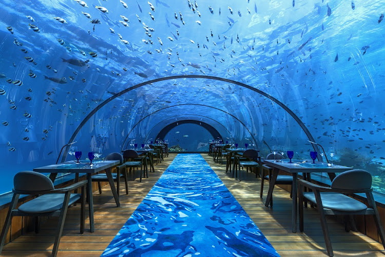 Hurawalhi Maldives' 5.8 undersea restaurant.