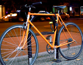 Photo: Another bight color hipster bike. One more and I'll have a series. Not to happy with how this turned out. The amber street lights are the same tones as the bike and contrast is minimal. Again the bike is lit by store front florescent lights from a coffee house.
