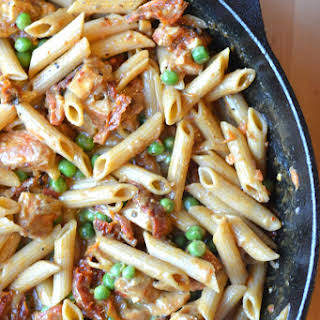 Chicken Penne in Sun-dried Tomato Vodka Cream Sauce.