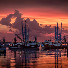Hot Summer Sunset by Ron Maxie - Transportation Boats