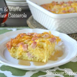 Ham & Waffle Breakfast Casserole