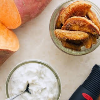 Caramelized and Crispy Sweet Potato Fries with Gorgonzola Dipping Sauce.