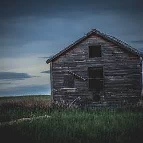 by Derek Martin - Buildings & Architecture Decaying & Abandoned ( clouds, yyc, alberta, wood, mood, elp, skies, farm, field, barn, 403, decay, abandoned )