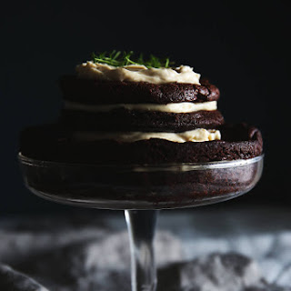 Mud Layer Cake With Chestnut Honey Thyme Frosting.