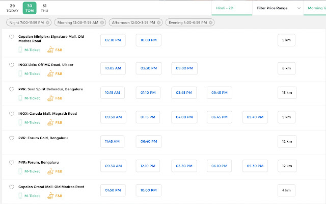 BookMyShow - Nearby Theatres
