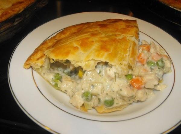 A slice of chicken pot pie