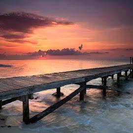 A New Day by Ken Smith - Buildings & Architecture Bridges & Suspended Structures ( sunrise, pier, landscape, playa del carman )