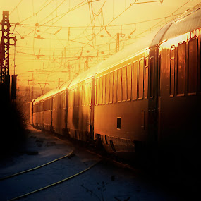 IC Sundown by Dietmar Pohlmann - Transportation Trains ( ic, winter, railway, colorful, sundown, train, light )