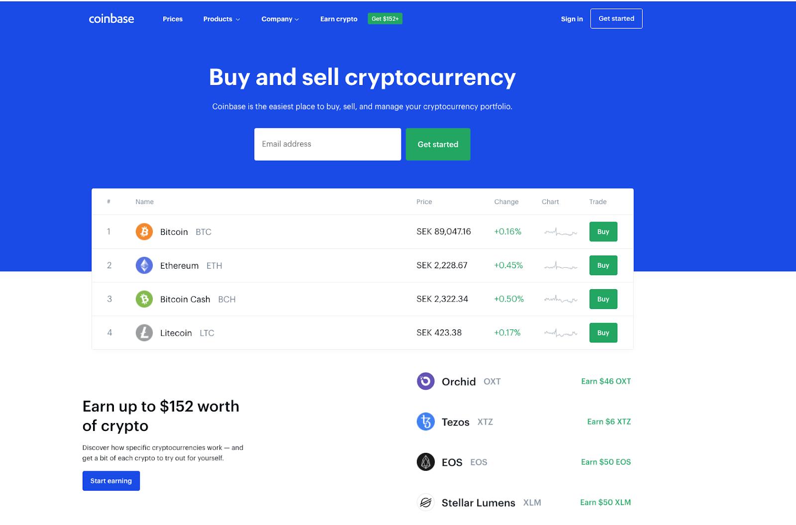 Coinbase screenshot