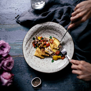 Millet And Corn Pancakes With Eggplant And Mozzarella Topping