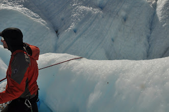 """Photo: Into the glacier: """"Shout stop if you don't feel like going further down"""""""