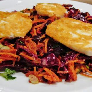 Halloumi, Vegetable and Pomegranate Molasses Salad.