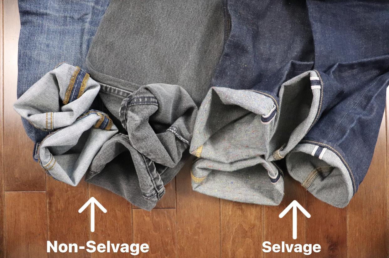 Non-selvage and selvage denim to resell online