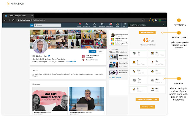 Hiration - Linkedin Review Chrome Extension