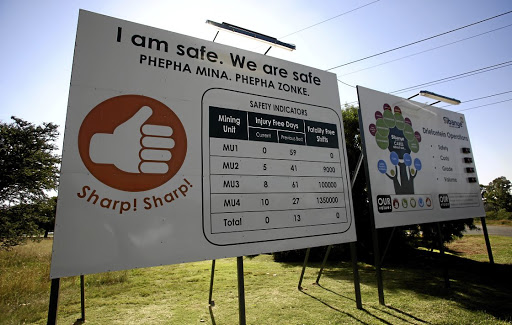 A safety indicator board outside Sibanye-Stillwater belies the mining company's terrible safety record.