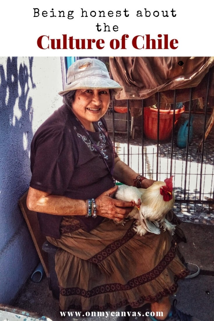 a chilean lady sitting holding a chicken in her lap in santiago used as a pinterest photo for culture of chile south america article by priyanka gupta