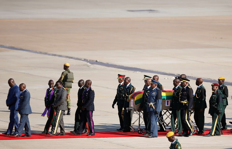 The body of former Zimbabwean president Robert Mugabe arrives in Harare on September 11 2019. He died on September 6 in Singapore after a long illness. File photo.
