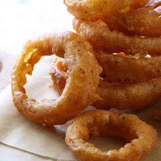 Onion Rings with Spicy Dipping Sauce.