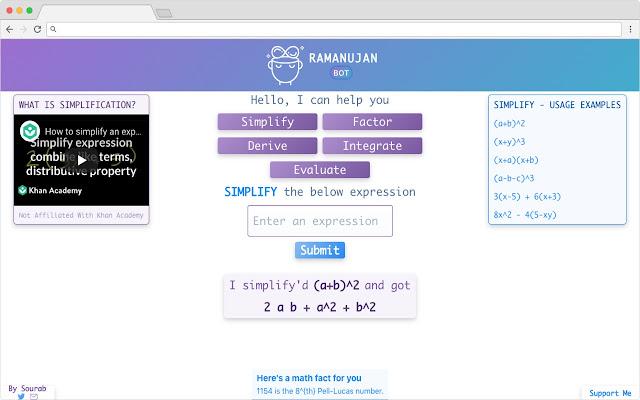 Ramanujan - Math Bot