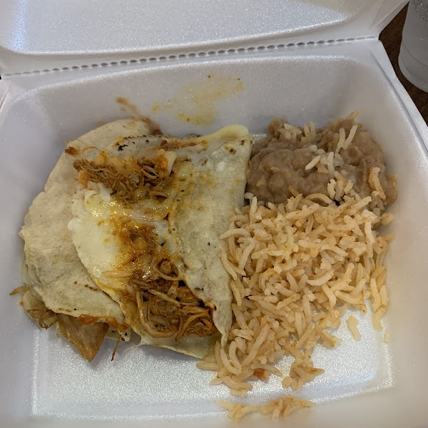 """Forgot to take picture of it on the plate.. was so good. Corn """"quesadillas"""" (more like mini tacos) with rice and beans"""