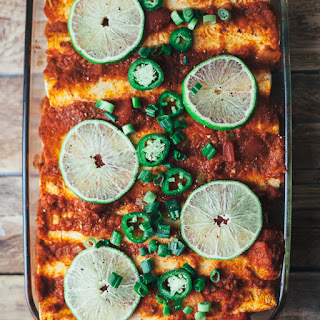 Bean and Potato Vegan Enchiladas.