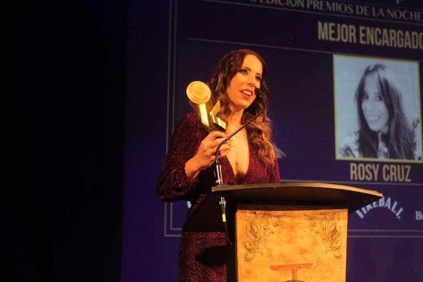 La galardonada en los Premios de la Noche Almeriense durante su intervención.