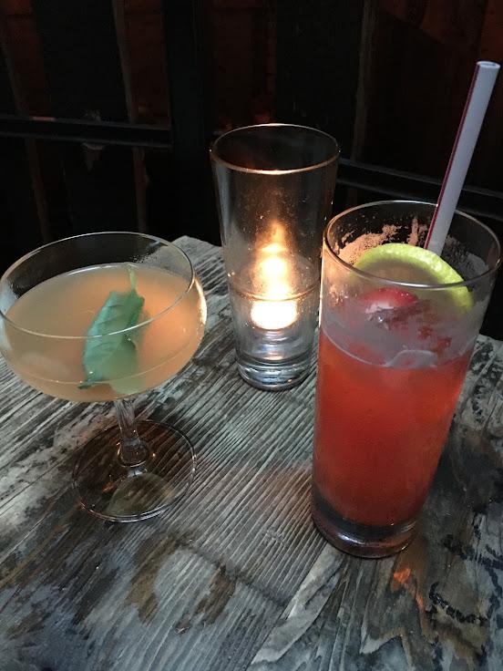 La Bonne Vie (Plymouth gin, lemon & grapefruit juice, basil and bitters) and a Kentucky Buck (strawberry infused Kentucky bourbon, lemon, ginger beer).