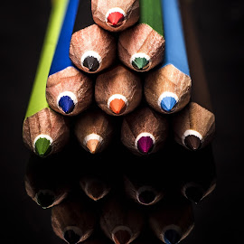 Pencils #10 by Mario Toth - Artistic Objects Education Objects ( macro, colored pencils,  )