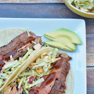 Easy Grilled Barbecue Steak Tacos with Coleslaw