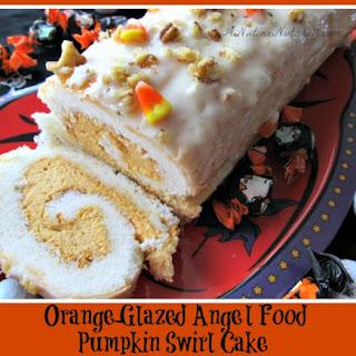 Orange-Glazed Angel Food Pumpkin Swirl Cake