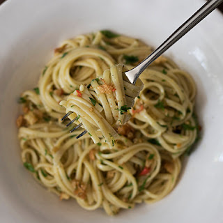 Anchovy Pasta with Garlic Breadcrumbs.