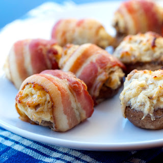 Bacon Wrapped Crab Stuffed Mushrooms