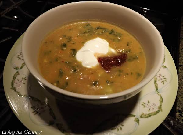 Sweet Potato Soup With Creamed Spinach Recipe
