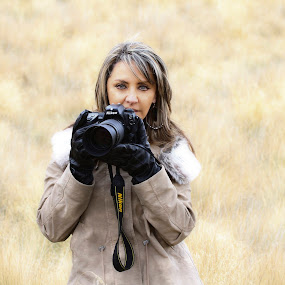 Lady Photographer by Cristobal Garciaferro Rubio - People Portraits of Women ( grass, photographer, lady, nikon )