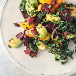 Beet, Beet Green, and Avocado Salad with Tahini Lemon Dressing.