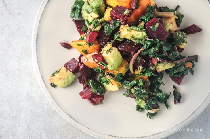 Beet, Beet Green, and Avocado Salad with Tahini Lemon Dressing Recipe