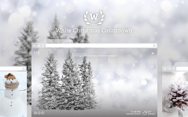 White Christmas Countdown HD Wallpapers Theme