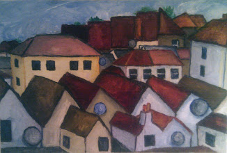 Photo: roofs and dishes - Gloucester Rd. - oil on canvas