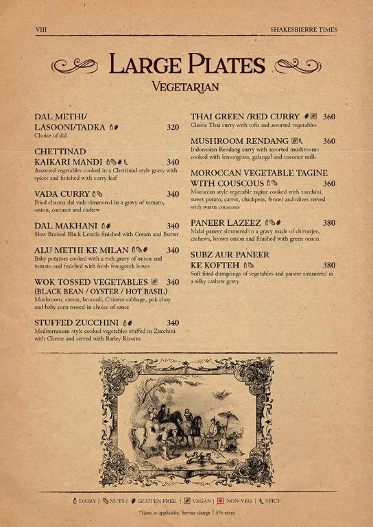 Shakesbierre menu 5