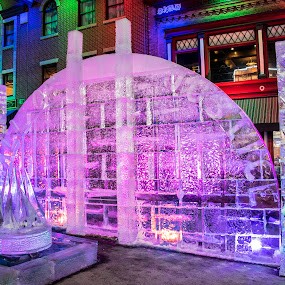 Hall of Justice Ice Sculpture by Sean Markus - Uncategorized All Uncategorized ( cripple creek, cripple creek ice festival, ice sculptures, colorado, night shot )