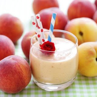 Strawberry Peach Mango Green Smoothie.
